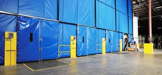 Loading dock curtain enclosure
